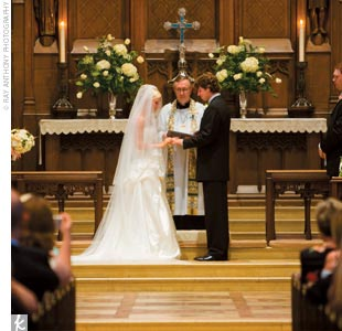 The couple married at the majestic Christ Church Cranbrook, under its high ceilings and stained-glass windows, and the monogrammed ceremony program featured a special remembrance in honor of the bride's late father.