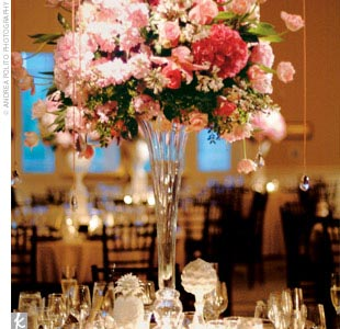 Modern and decidedly elegant, the day's signature colors were pink, silver, black, and white, with lots of flashy crystal accents.
