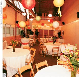 Leea replaced the facility's white paper lanterns hanging in the reception area with colored ones (in an assortment of orange, lime green, red, and yellow). Hanging from each lantern was a ribbon in a complementary color.