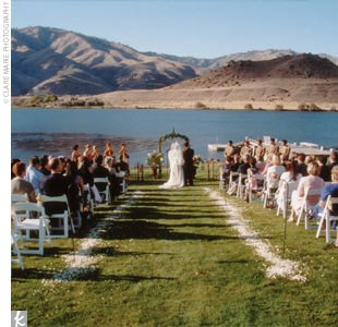"Their Tuscan-inspired ceremony and reception took place in the couple's backyard on tranquil Lake Entiat, with mountains spread out into the distance. In front of an ivy-covered trellis, the bride's and groom's mothers read poignant passages (including excerpts of ""Apache Wedding Blessing"") before Sonya and Mike were pronounced husband and wife."