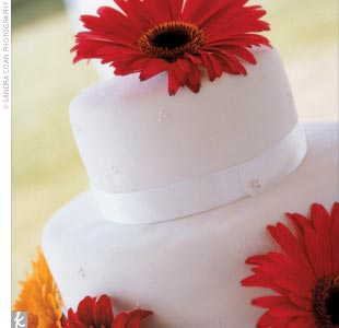 "The two-tiered cake was covered with white fondant and decorated with gerbera daisies (and they ordered extra sheet cakes of the same flavor). ""The sheet cakes really saved us money,"" admits Tara. ""Usually at weddings it seems no one hardly eats the cake, but ours was totally gone!"""