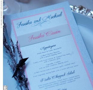 A scripted menu adorned with a wintry branch rests at each guest&#39;s seat. The menu takes on a Mediterranean flair and includes such delicacies as New Zealand strip steak and pan sauteed Alaskan salmon.