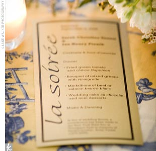 Sarah speaks French at home, so French accents graced the ceremony programs and menu cards, which were placed at each reception table.
