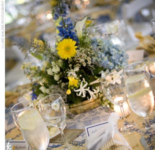 The centerpieces -- a mix of yellow, cream, and blue flowers -- sat low on the tables, which added to the sophisticated ambience and made for easy conversation.
