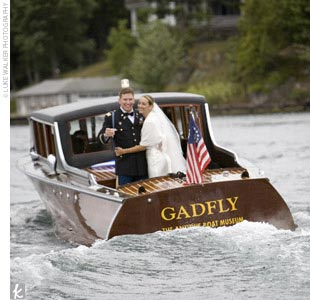 Sarah and Ian were ferried across the bay to the island and back on an antique wooden boat called the Gadfly. The two rode with their honor attendants and spouses, while the rest of the crew piled into a bigger boat called Zipper.