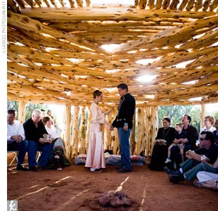 After the medicine man finished the Navajo ceremony, the couple's mothers read a Navajo chant. Then the father of the groom officiated for the Western portion of the ceremony. Kasey and Jason read vows they'd written themselves before exchanging rings.