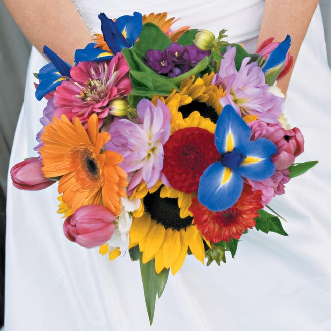 """I wanted my bouquet to include the favorite flowers of the significant women in my life,"" Michele says. She gave a list to her florist, who set about creating the beautiful bouquet."