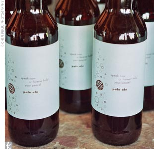 "The couple are self-proclaimed ""microbrew fiends,"" and, as such, gave guests pints of pale ale from their favorite local brewer, Big Time Brewery & Alehouse. They created their own labels for the bottles, naming their signature brew ""Speak Now or Forever Hold Your Peace Pale Ale."""