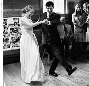 "The newlyweds came out swinging (literally) for their first dance. Thanks to six hours of lessons, they performed a swing dance to the song, ""The Trouble with Boys and Girls,"" which put the evening in full party mode."
