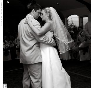 "The newlyweds shared their first dance to ""The Luckiest,"" by Ben Folds."