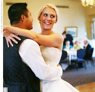 "Amber and John shared their first dance to Tim McGraw's ""My Best Friend."" ""I really wanted the reception to have a party feel to it, and our DJ kept the dance floor crowded all night with great tunes and props that everyone enjoyed,"" Amber says."