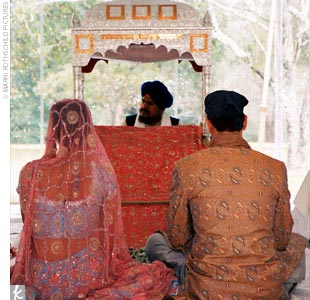 "The wedding day began with the Sikh ceremony, which was held in the gardens beneath a tent. ""It was important to us to have clear walls for the tent so we preserved the feeling of being outside, but still kept everyone warm since it was February,"" Naina says."