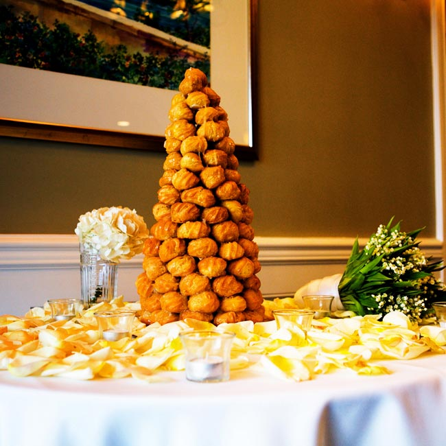 A French croquembouche with white chocolate filling was served in lieu of a traditional wedding cake.