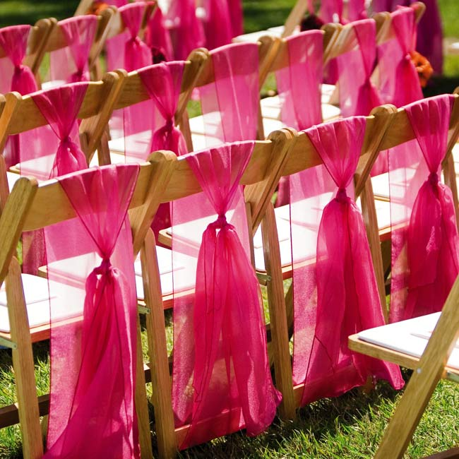 ceremony chairs, pew decorations wedding