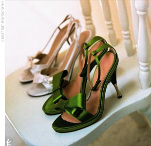 """I wore two different pairs of shoes: one for the ceremony, and then I changed shoes once the party and dancing started,"" says Laura-Lee. The first pair were Kate Spade shoes with a very simple bow, and the second pair were bright green with ankle straps and bows from BCBG."