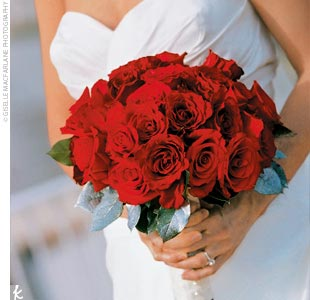 For a simple, clean look, Mary Ann's bouquet was made entirely of red roses.