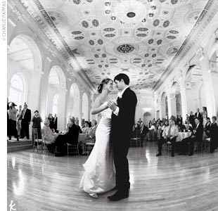 "Jennifer and Kevin took their first spin on the dance floor as a married couple to Elton John's ""Our Song."" The two had taken rumba lessons to prepare. Later, the DJ played a mix of music including Michael Jackson. ""Kevin loves to do the moonwalk,"" Jennifer says."