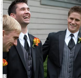 The guys all rented black Kenneth Cole tuxes with silver and black vests.