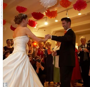 The newlyweds had their first dance to Eric Clapton&#39;s &quot;Wonderful Tonight.&quot;