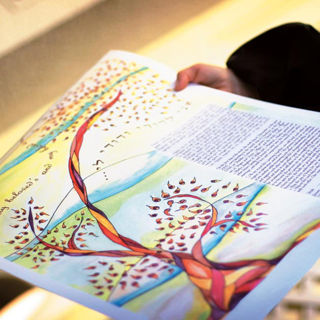 Though the couple opted not to have a wedding party, their sisters and parents stood by their sides as the rabbi read from the ketubah that Celine and David had written together.