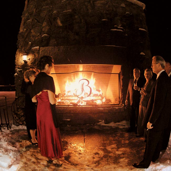 The reception was held at The Cheyenne Lodge at The Broadmoor Hotel, which was perfectly set up for a cold winter's night, with roaring fireplaces and a towering Christmas tree.