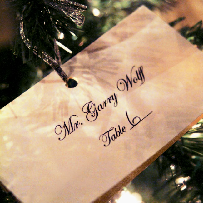Guests found their escort cards in the form of silver ornaments hanging on a smaller Christmas tree.