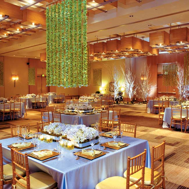 Alicia and Nate's wedding consultant, David McKnight, transformed the already elegant space, embellishing the hotel's Asian-inspired, contemporary design with streamlined flowers and décor in a fresh color palette of pale blue, chocolate brown, and celery green. Dramatic strands of pale green orchids descended from the ceiling over the square table ...