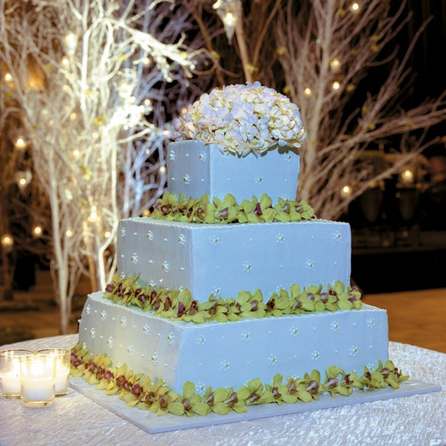 "The three-tier square cake was light blue with bright green hydrangea and orchid trim. ""It was simple and beautiful,"" says Alicia."
