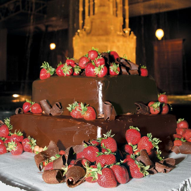 And in keeping with Southern tradition, guests could also indulge their chocolate cravings with the groom's cake, a two-tier square, dark chocolate cake with fudge and Chambord filling that was decked out with chocolate-dipped strawberries and chocolate curls.