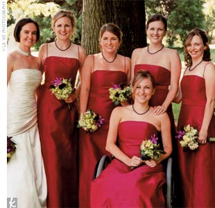 Sterling's five bridesmaids wore fuchsia, silk shantung, floor-length dresses with a silk sash that tied in the back.