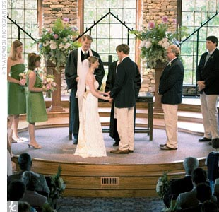 The sentimental ceremony, which involved many family members and traditions, took place in a simple, gray chapel. The officiating minister was Trey's great-uncle, who had also married the groom's parents.