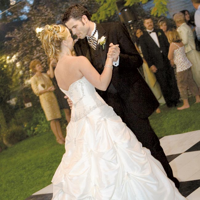 "Aaron and his bride performed a choreographed routine to ""The Broken Road"" by Rascal Flatts. ""The entire dance floor was packed from the first song to the last,"" says Tiffany."