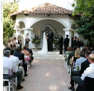 Taking advantage of California's almost predictable weather, Kayla and David opted to exchange vows outdoors in a small theater-style area at their site. One of the most touching moments of the ceremony came when David's brother read a letter that the groom had written to his late father expressing his love for Kayla.