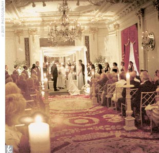 The Jewish ceremony had a combination of traditional and nontraditional elements. Surrounded by candlelight, Jennie's father read seven traditional Jewish wedding blessings in Hebrew, and Dan's mother read seven modern blessings the couple had written in English.