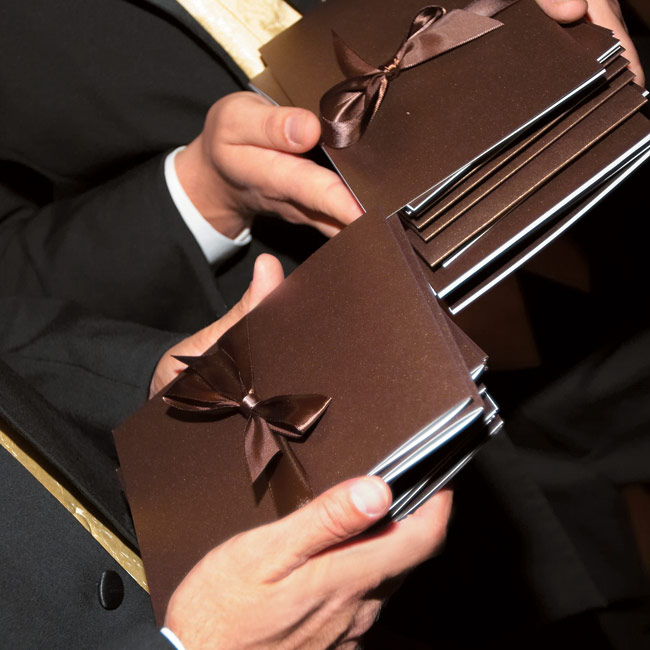 Chocolate was the theme for Nicole and Ryan's nuptials, where event the programs carried the chocolate palette.