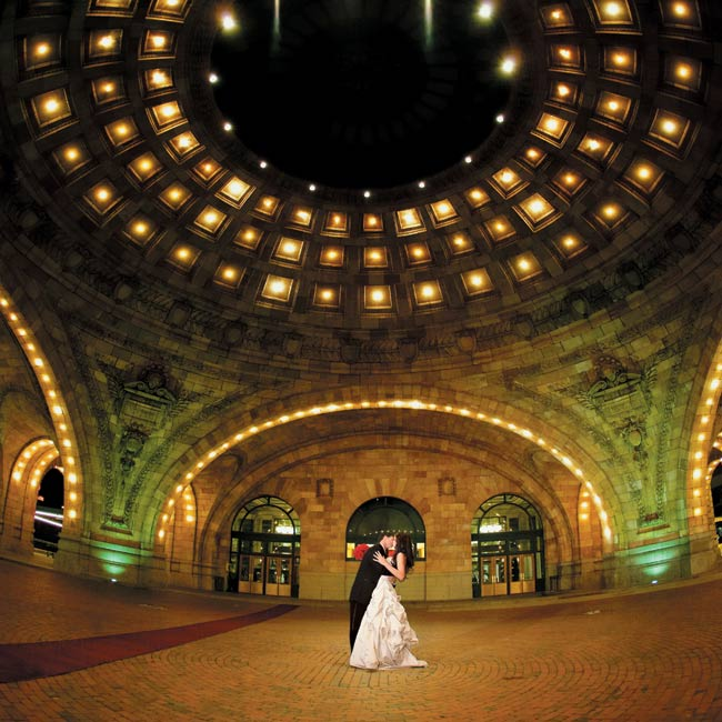 Nicole and Ryan's reception site at The Pennsylvanian, made for a dramatic photo-op.
