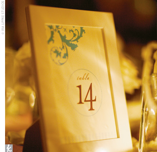 The table numbers at Annie and Michael's reception kept with their Victorian theme.