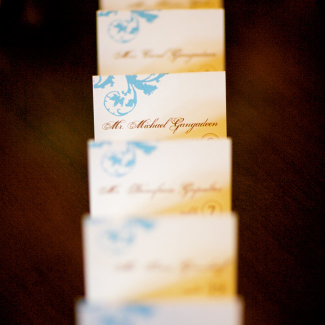 Annie and Michael's beautiful escort cards reflected their Victorian theme.