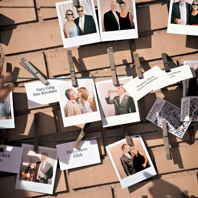 When guests arrived, two of the couple's friends were on hand to snap Polaroids, which were then hung on a clothesline in exchange for each guest's place cards.