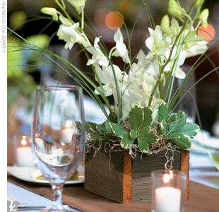 Orchids and bear grass were arranged in rustic wooden boxes to complement the rustic setting.