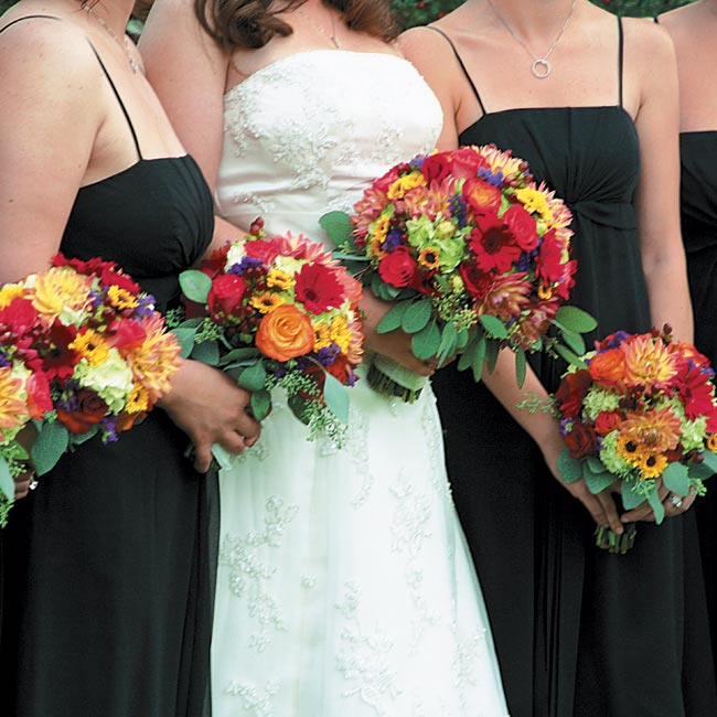 Jenn's only flower request were gerbera daisies, which were mixed with other vibrant blooms to create the bridal party's bouquets.