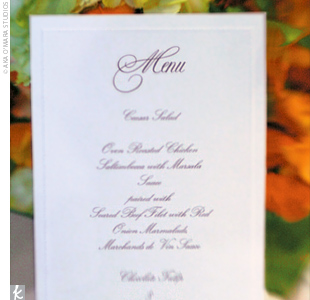 After the ceremony, guests enjoyed a meal of oven-roasted chicken or seared beef filet. In addition to cake, dessert was the bride&#39;s favorite treat -- a chocolate tulip-shaped cup filled with mousse and fresh berries.