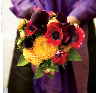 Wendy's bridesmaids held purple mini calla lilies, orange dahlias, and red anemones that were wrapped in espresso satin ribbon to match their dresses.