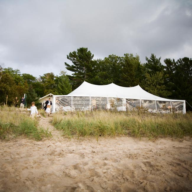 Wendy's family's cottage is located right on Lake Michigan, providing a beautiful spot for their reception.