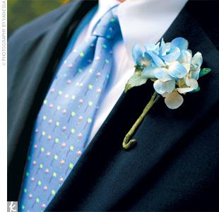 hydrangeas wedding boutonnieres Blue Hydrangea Boutonniere