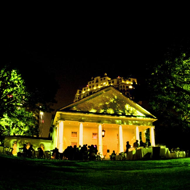 "The reception took place at Arlington Hall at Lee Park, which Jamey says ""was illuminated with the warmth of Southern hospitality."""