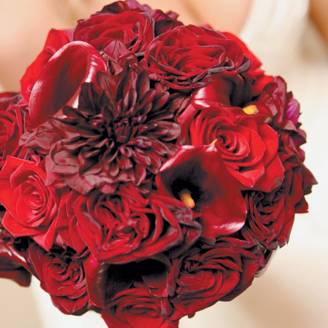 Julie carried an all-red bouquet made of roses, mini calla lilies, and dahlias accented with pearls.