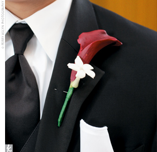 Angelo accessorized his look with a classic red calla lily and stephanotis.