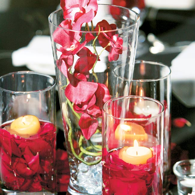 At the reception, paper lanterns and orchids added to the Asian-influenced decor.