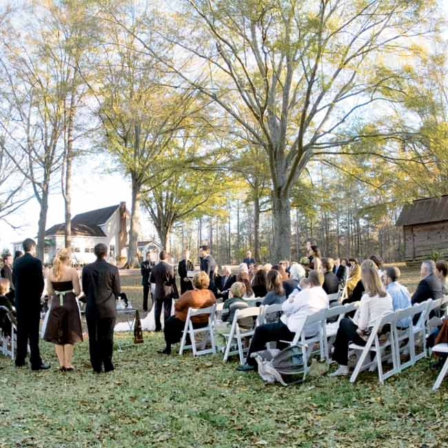 The ceremony was a family affair. Ashley's and Jeremy's families lit candles in memory of loved ones who had passed. And even their pug Beau made an appearance down the aisle with the flower girls.